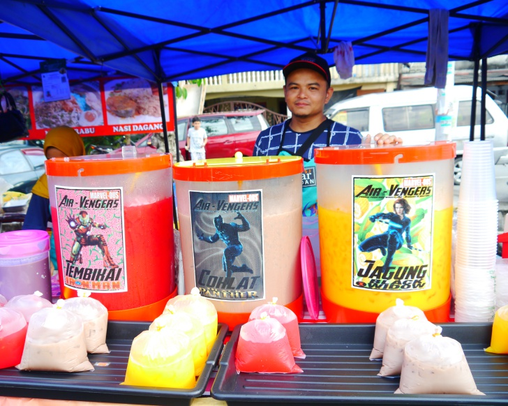 Feel like a super hero at this Air-Vengers drink stall. Photo: Khalil Adis