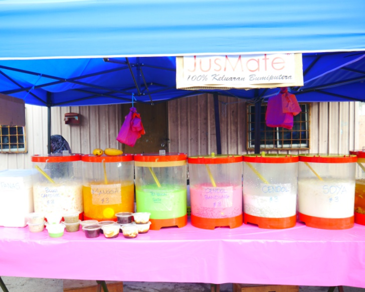 A selection of drink flavours that can be found at Taman Puchong Permai bazaar. Photo: Khalil Adis